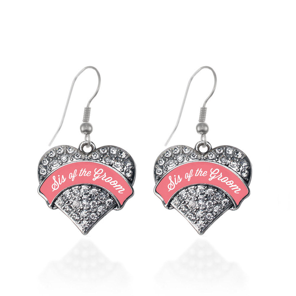 Coral Sis of Groom Pave Heart Charm