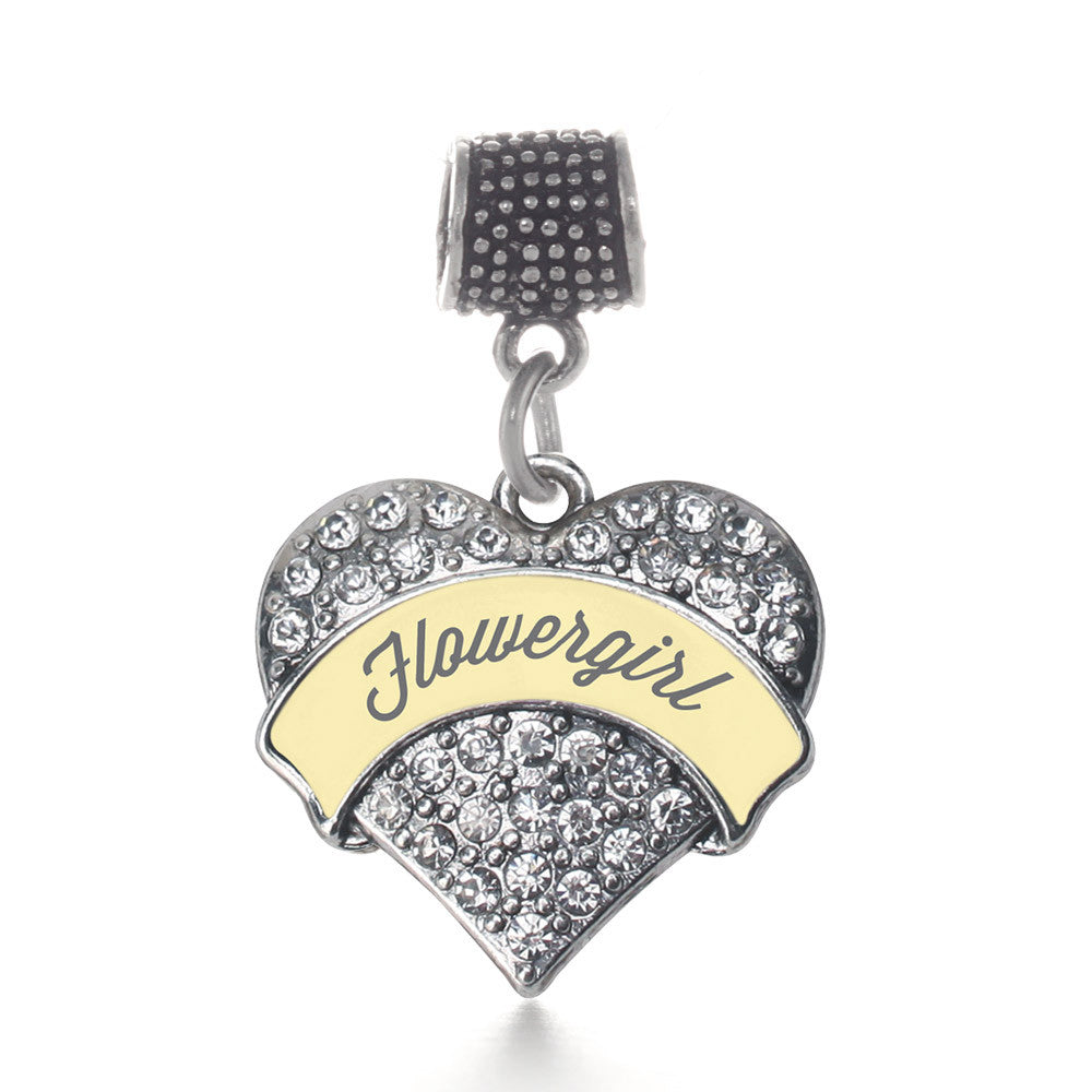 Cream Flower Girl Pave Heart Charm