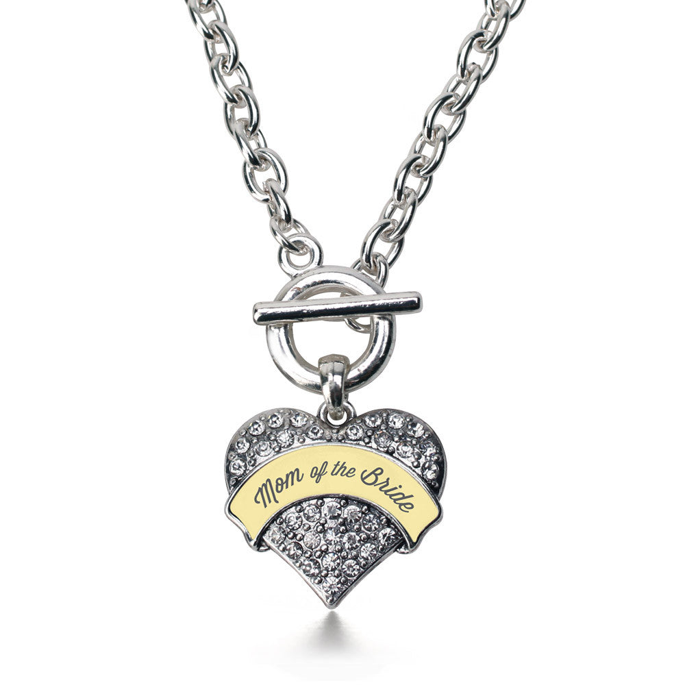 Cream Mom of Bride Pave Heart Charm