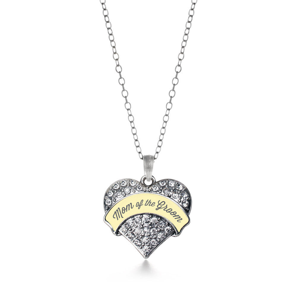 Cream Mom of Groom Pave Heart Charm