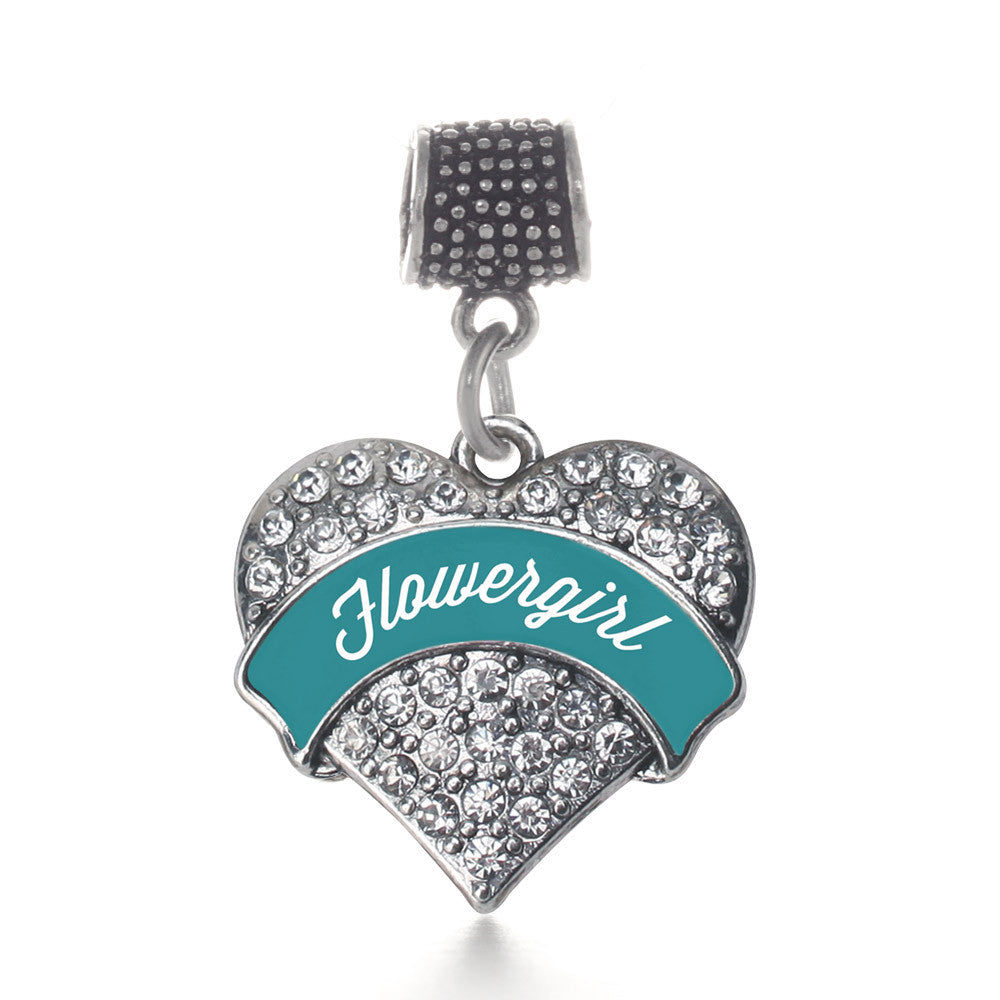 Dark Teal Flower Girl  Pave Heart Charm