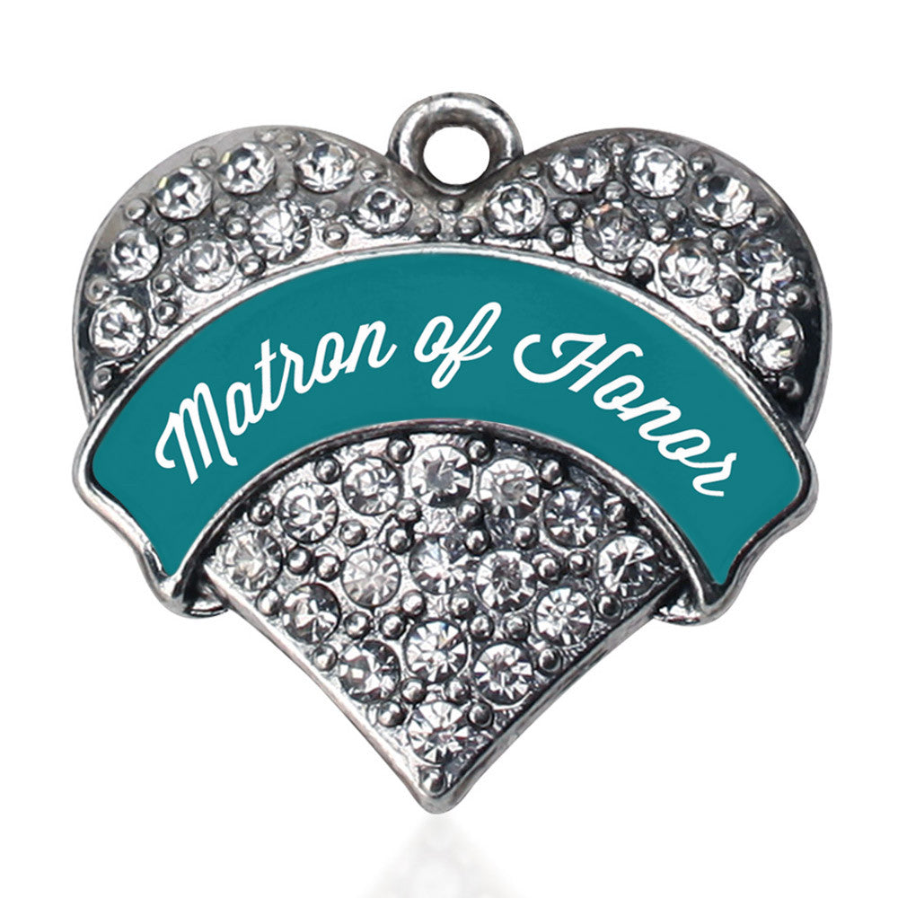 Dark Teal Matron of Honor Pave Heart Charm