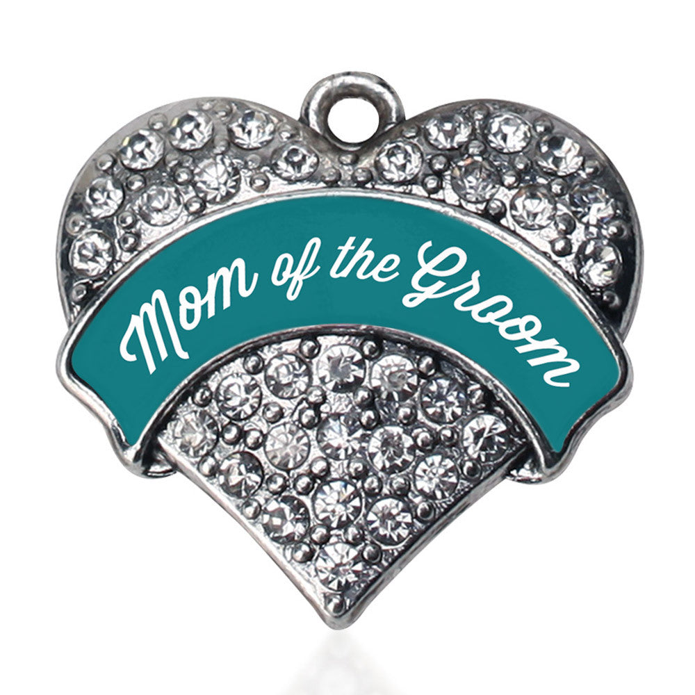 Dark Teal Mom of Groom Pave Heart Charm