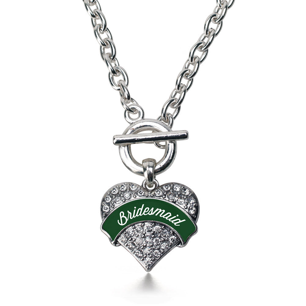 Forest Green Bridesmaid Pave Heart Charm