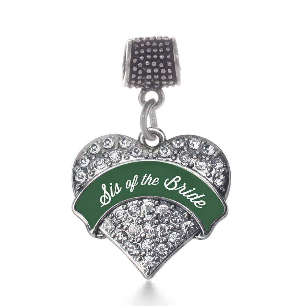 Forest Green Sis of Bride  Pave Heart Charm