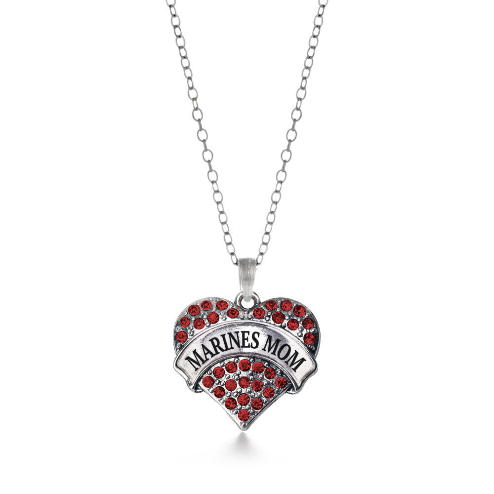 Marines Mom Pave Heart Charm