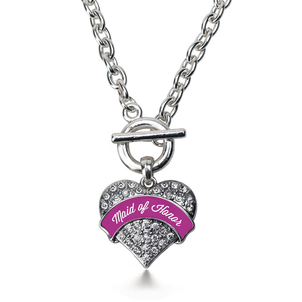 Magenta Maid of Honor  Pave Heart Charm