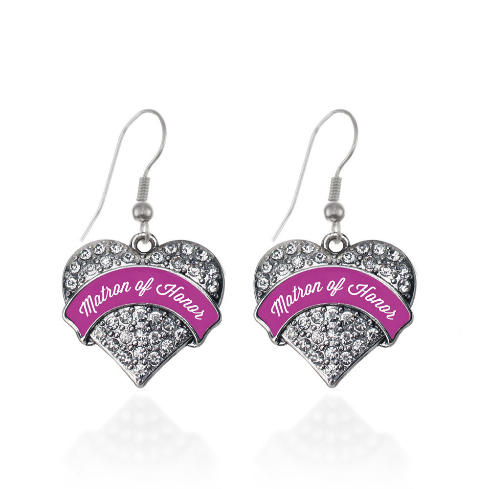 Magenta Matron of Honor  Pave Heart Charm