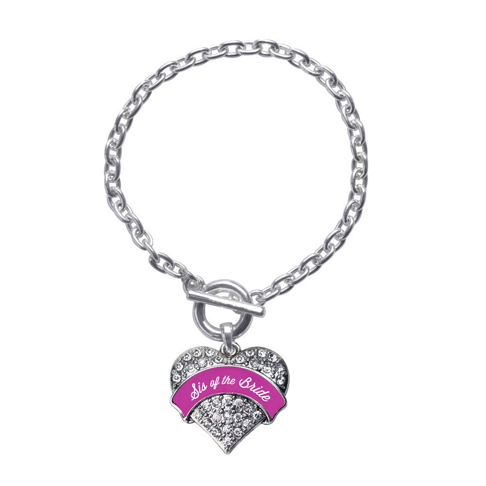 Magenta Sis of Bride  Pave Heart Charm