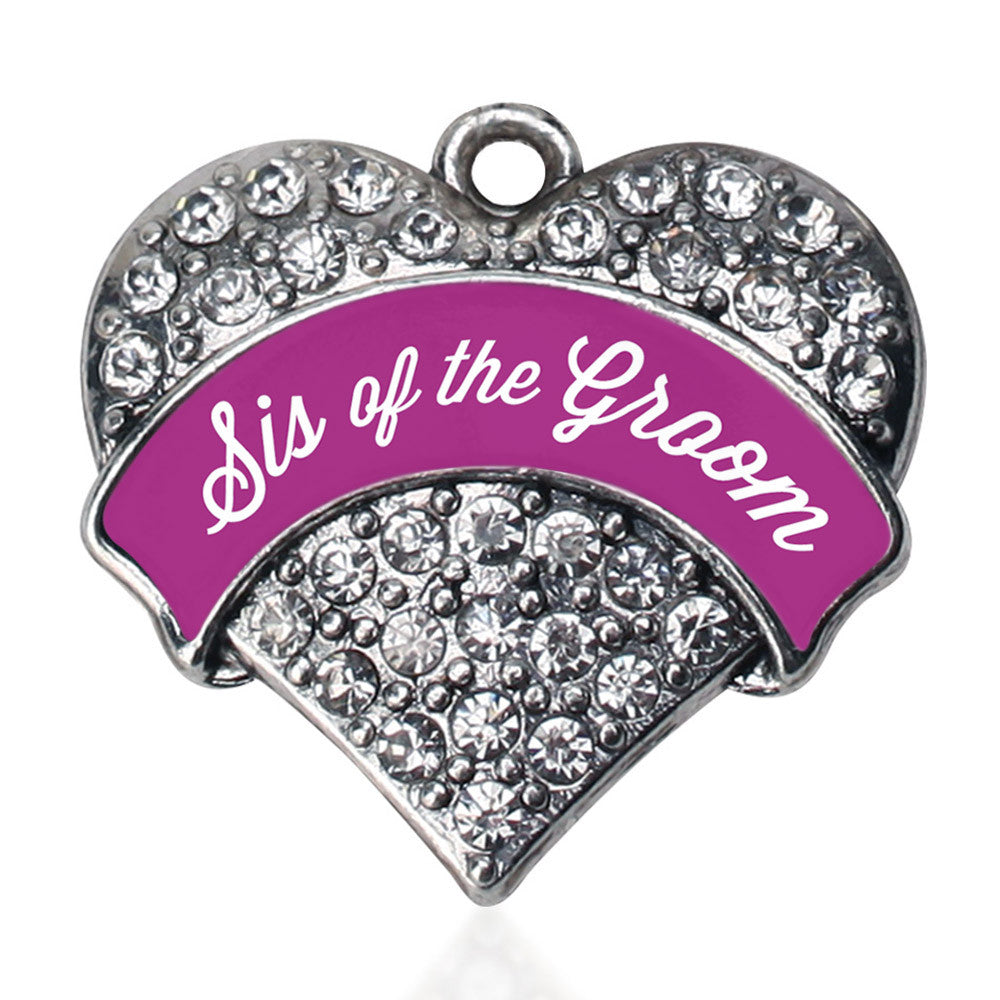 Magenta Sis of Groom  Pave Heart Charm