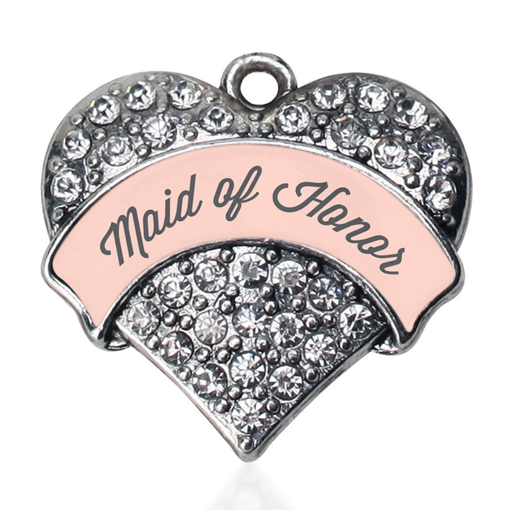 Nude Maid of Honor  Pave Heart Charm