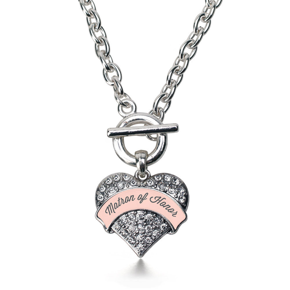 Nude Matron of Honor  Pave Heart Charm