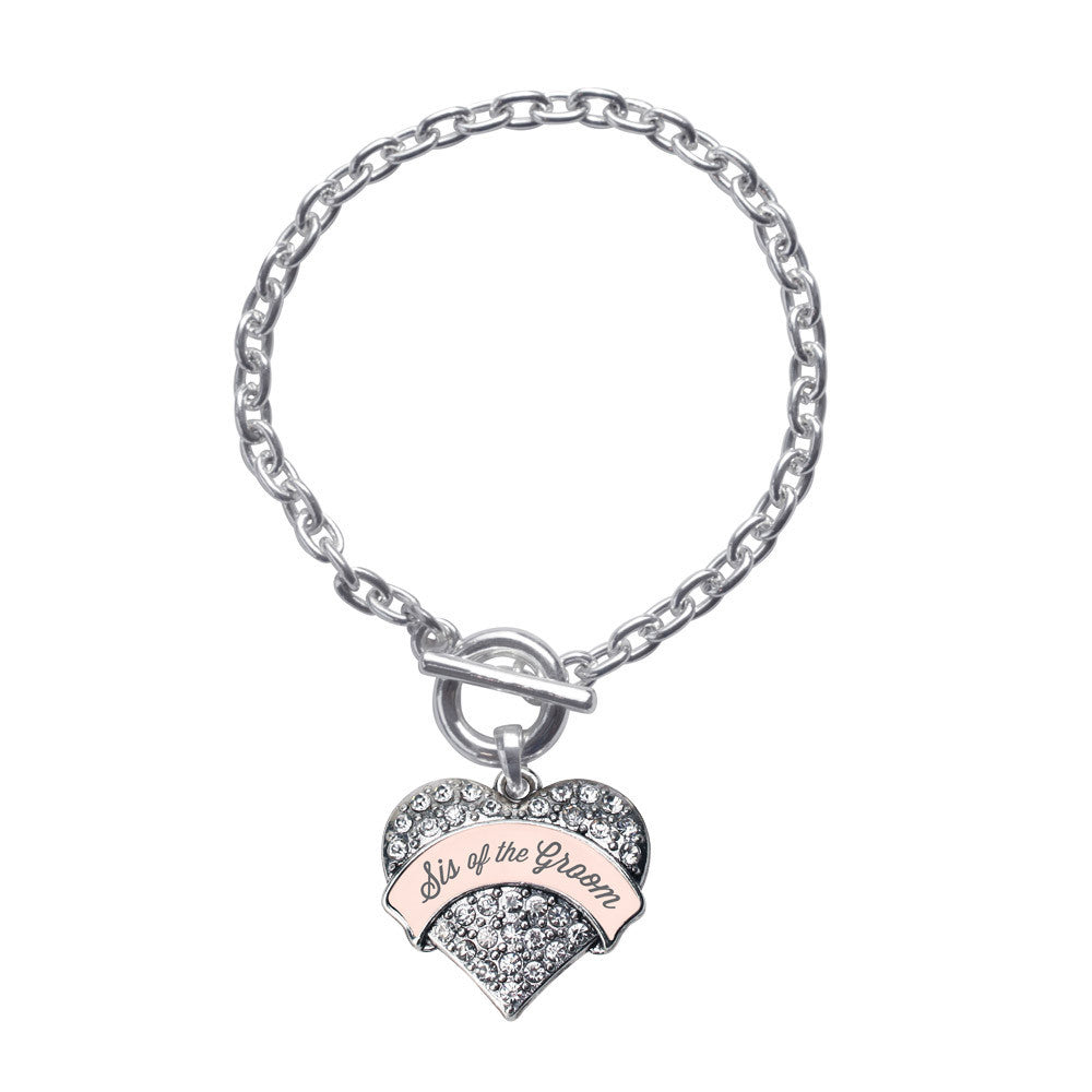 Nude Sis of Groom  Pave Heart Charm