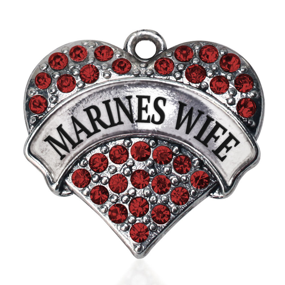 Marines Wife Pave Heart Charm