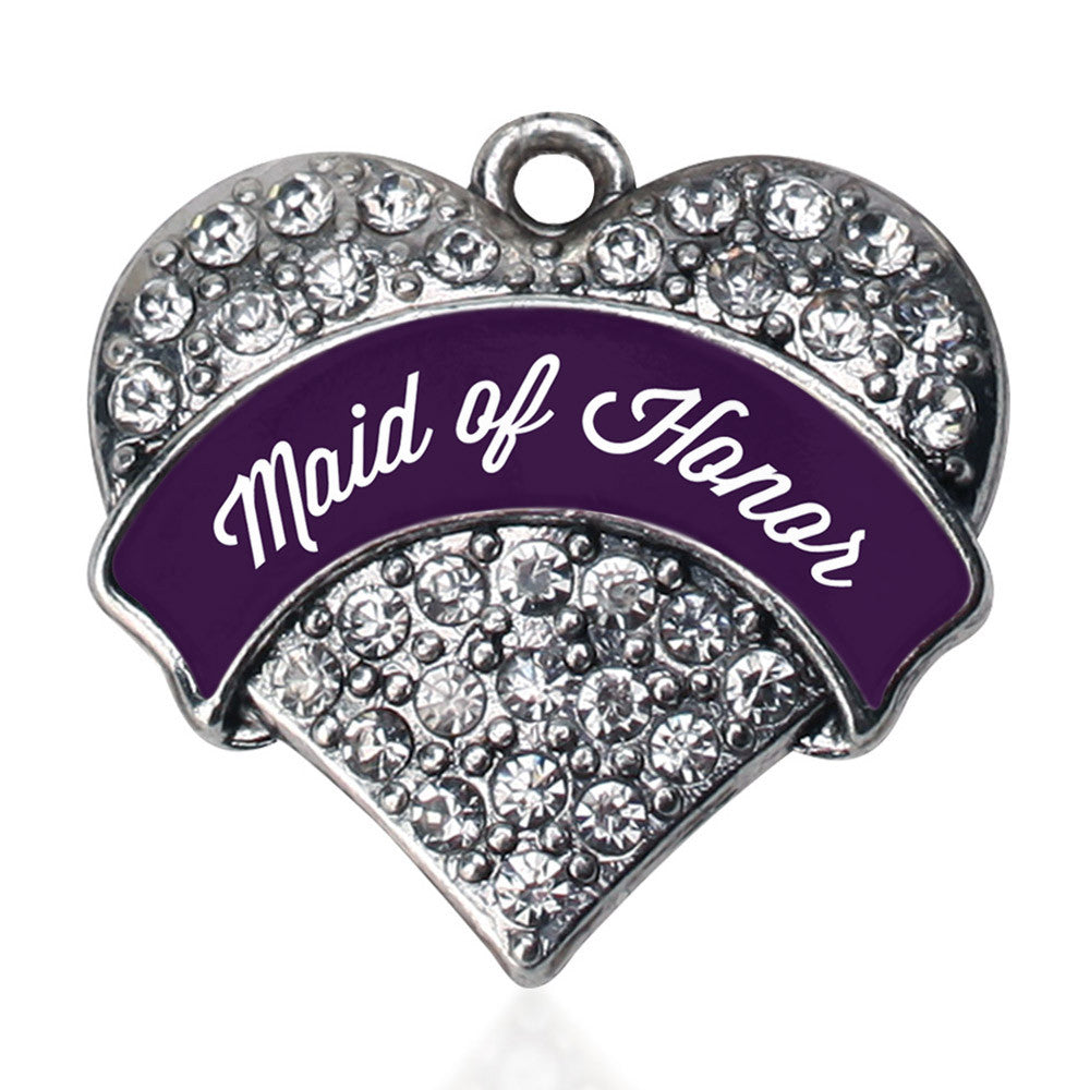 Plum Maid of Honor Pave Heart Charm