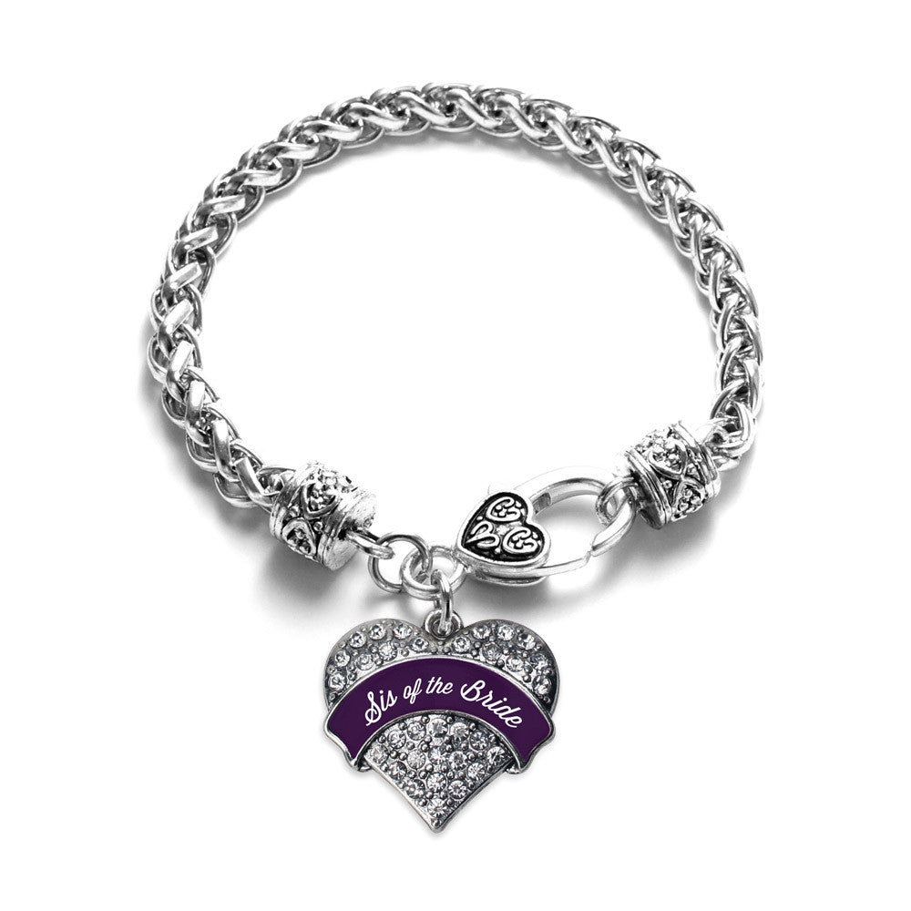 Plum Sis of Bride  Pave Heart Charm