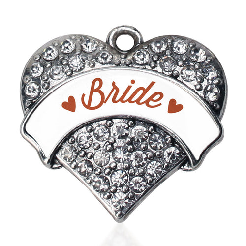 Rust Bride  Pave Heart Charm