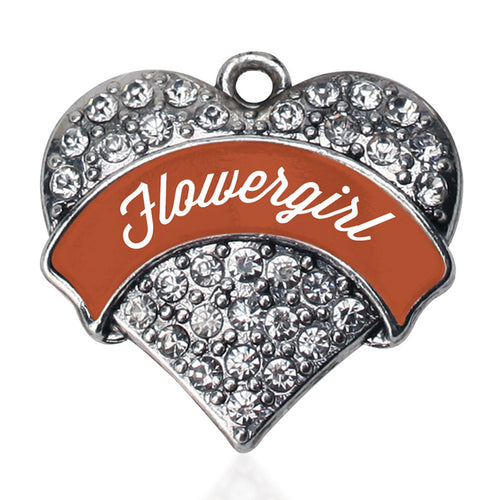 Rust Flower Girl  Pave Heart Charm