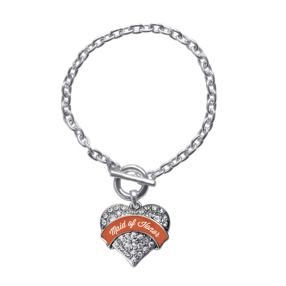 Rust Maid of Honor  Pave Heart Charm