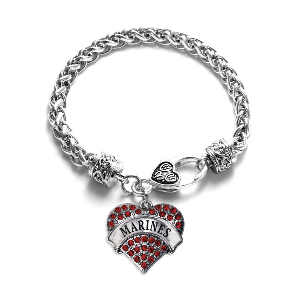 Marines Pave Heart Charm