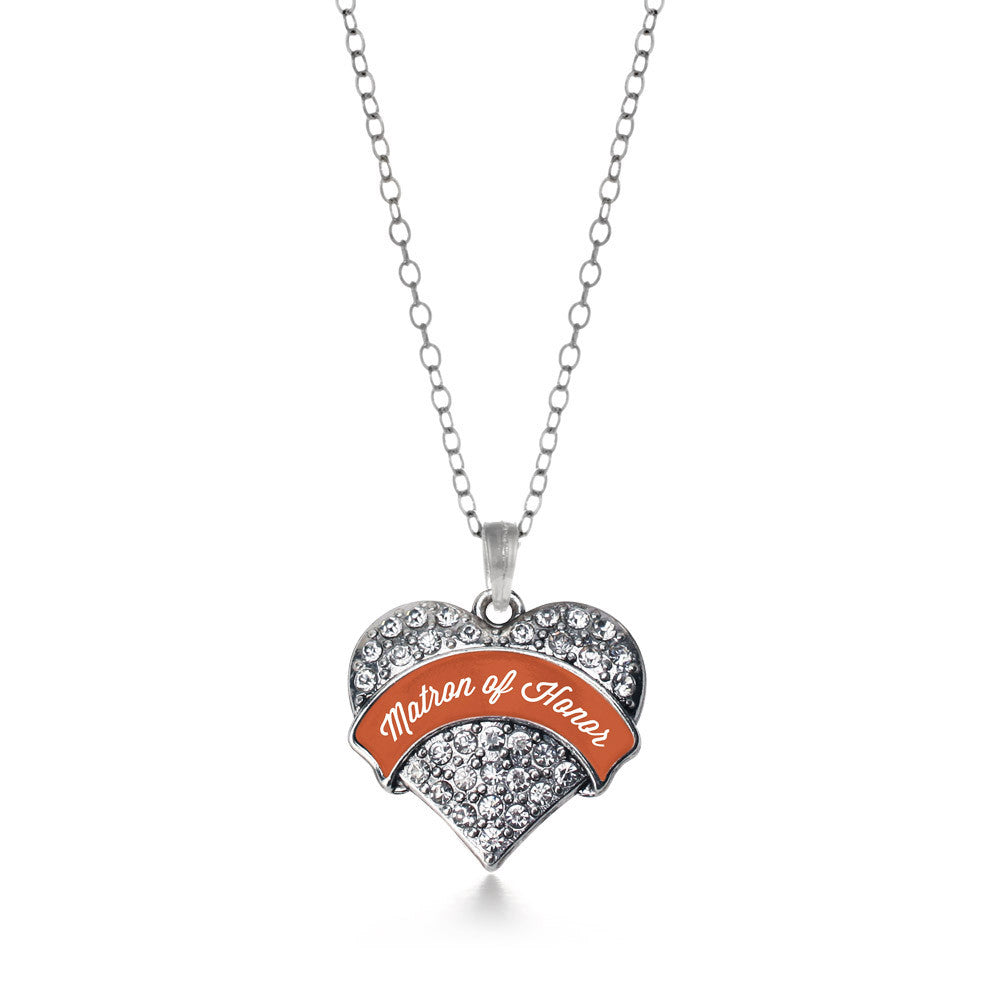 Rust Matron of Honor  Pave Heart Charm