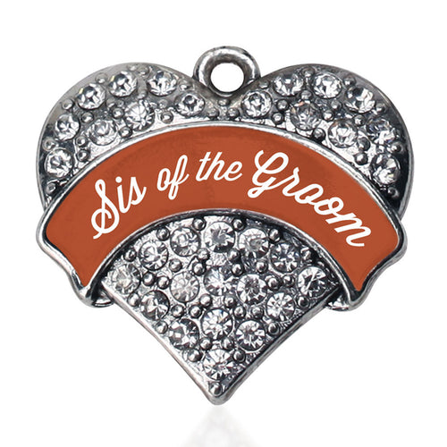 Rust Sis of Groom Pave Heart Charm