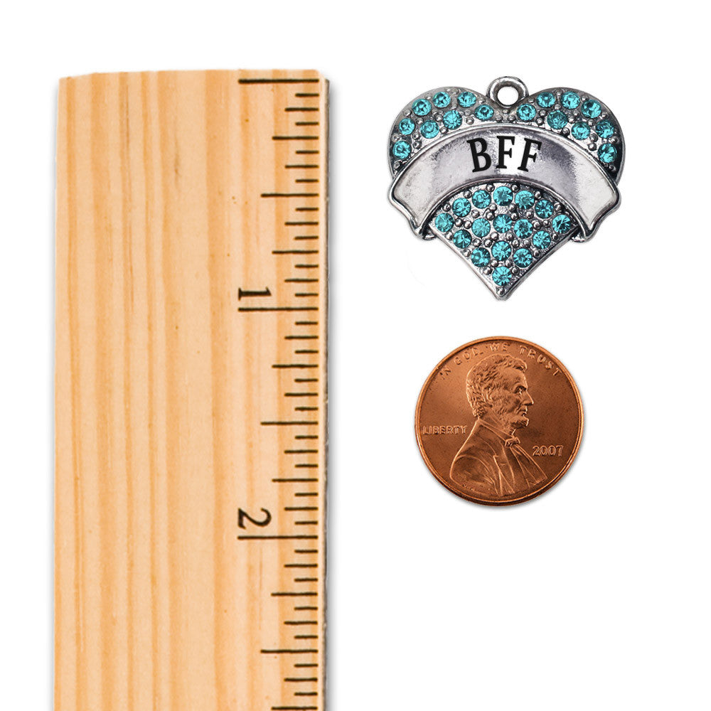 Teal BFF Pave Heart Charm