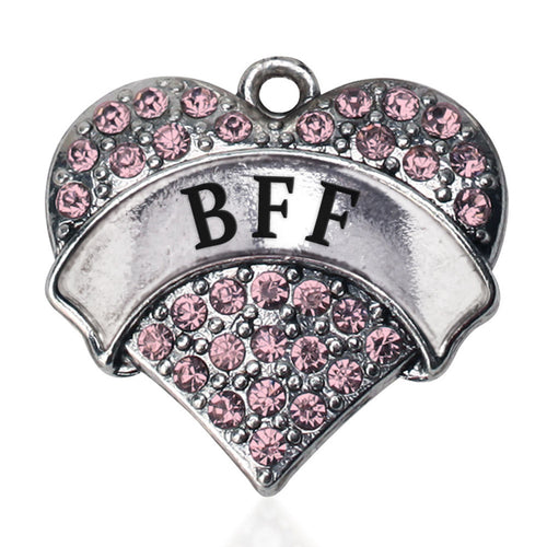 Pink BFF Pave Heart Charm