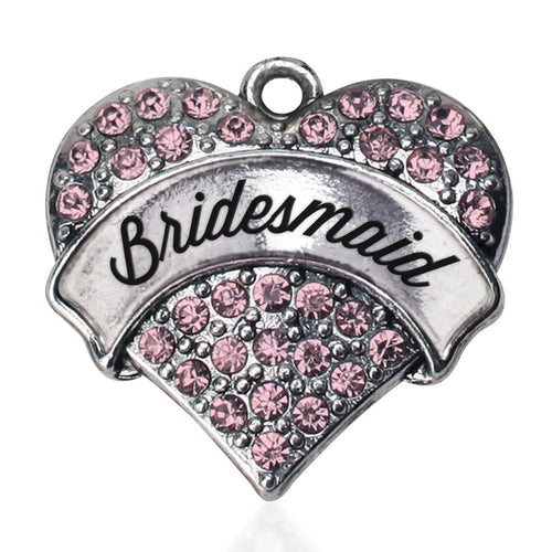 Script Pink Bridesmaid Pave Heart Charm