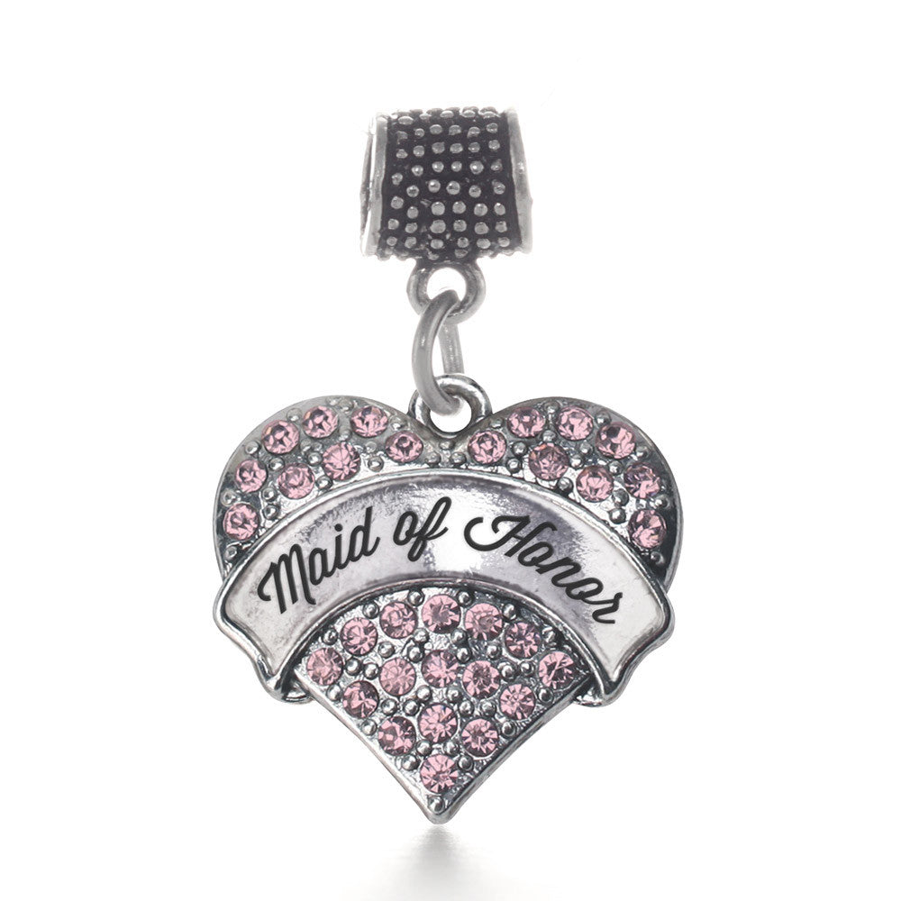 Script Pink Maid of Honor Pave Heart Charm