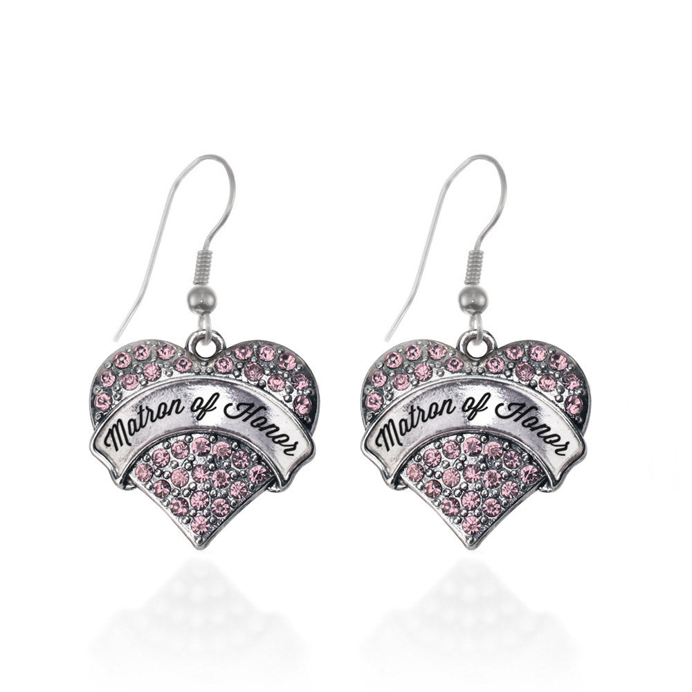 Script Pink Matron of Honor Pave Heart Charm