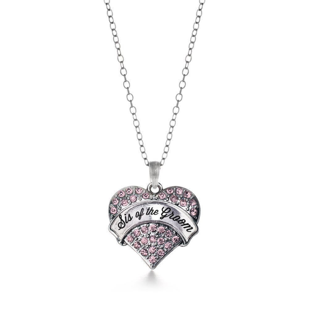 Script Pink Sis of the Groom Pave Heart Charm