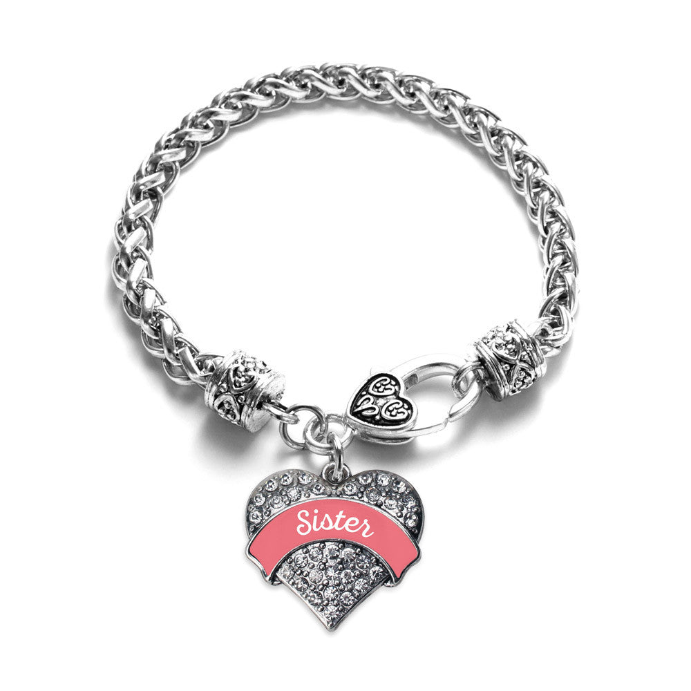 Coral Sister Pave Heart Charm