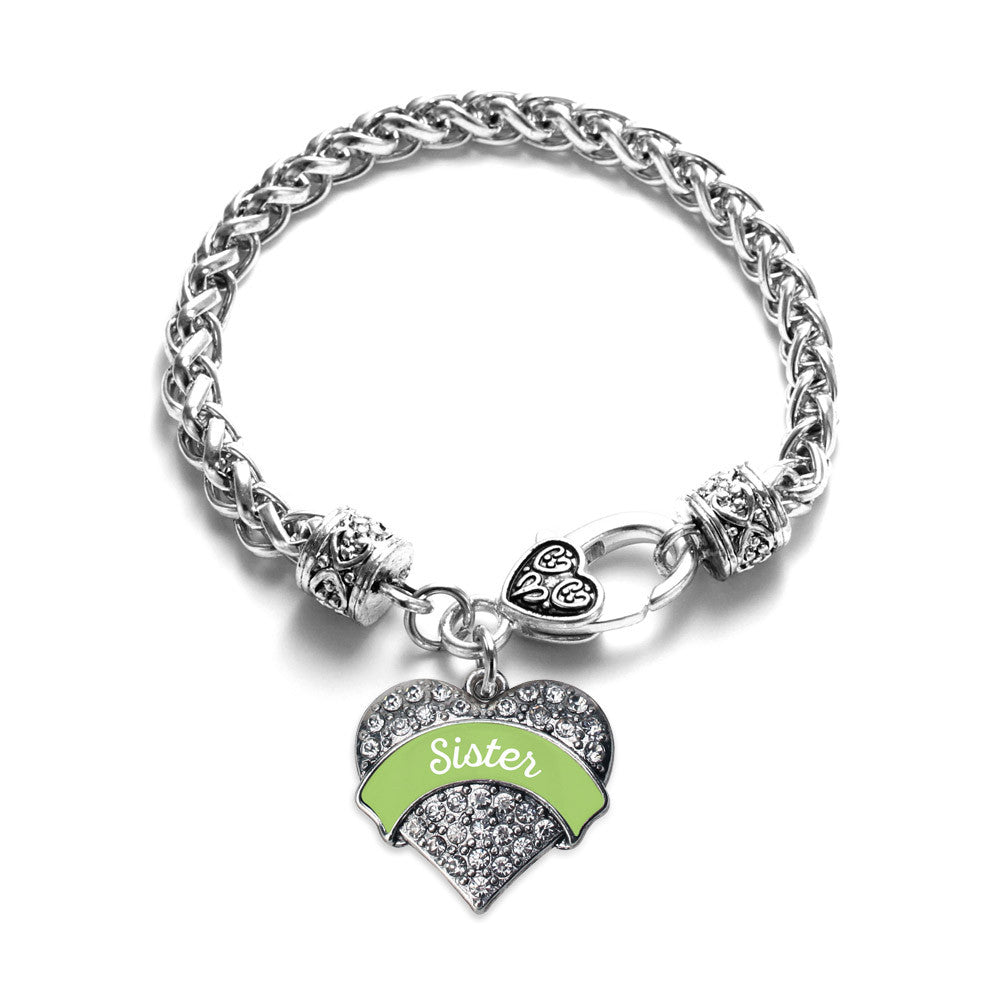 Sage Green Sister Pave Heart Charm