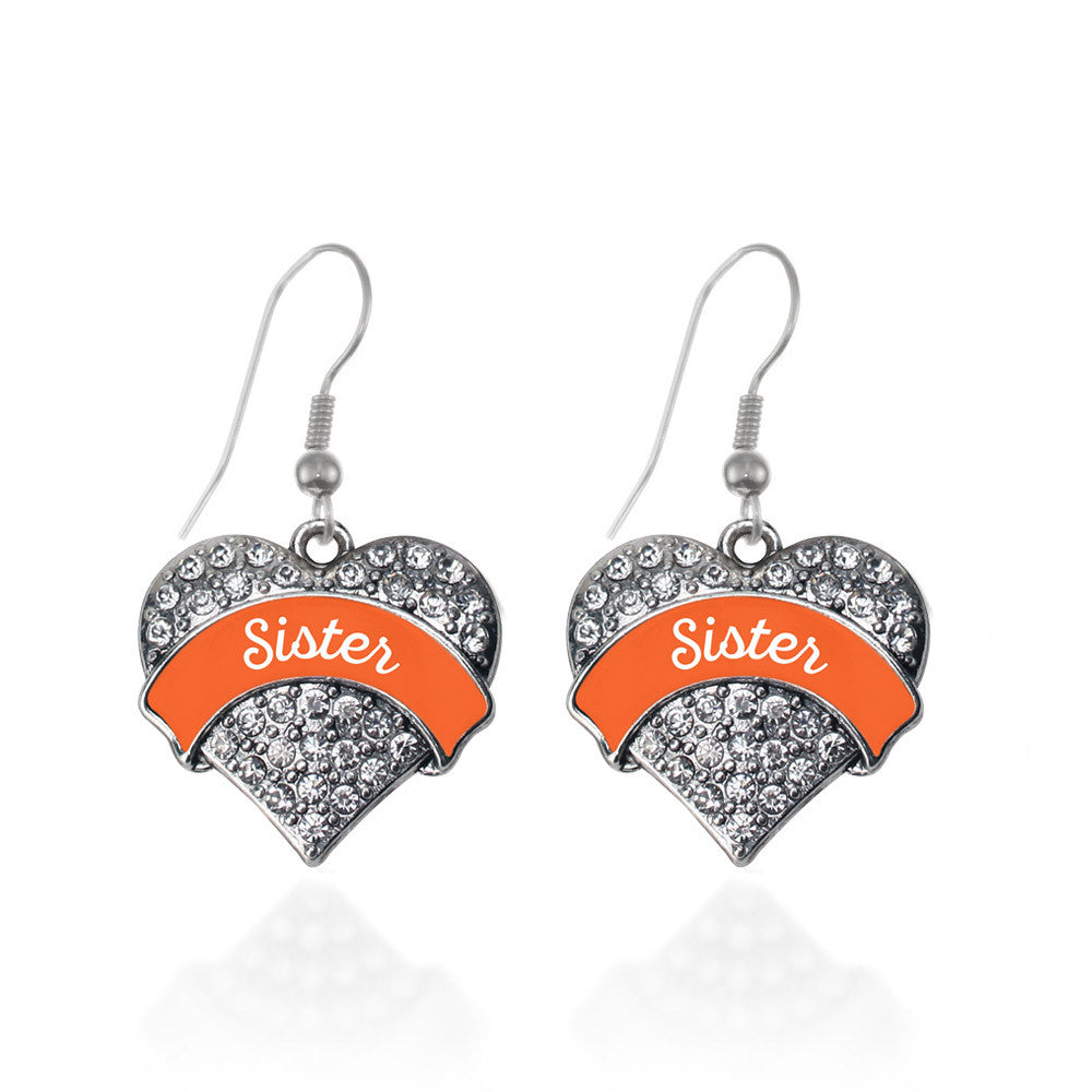 Orange Sister Pave Heart Charm