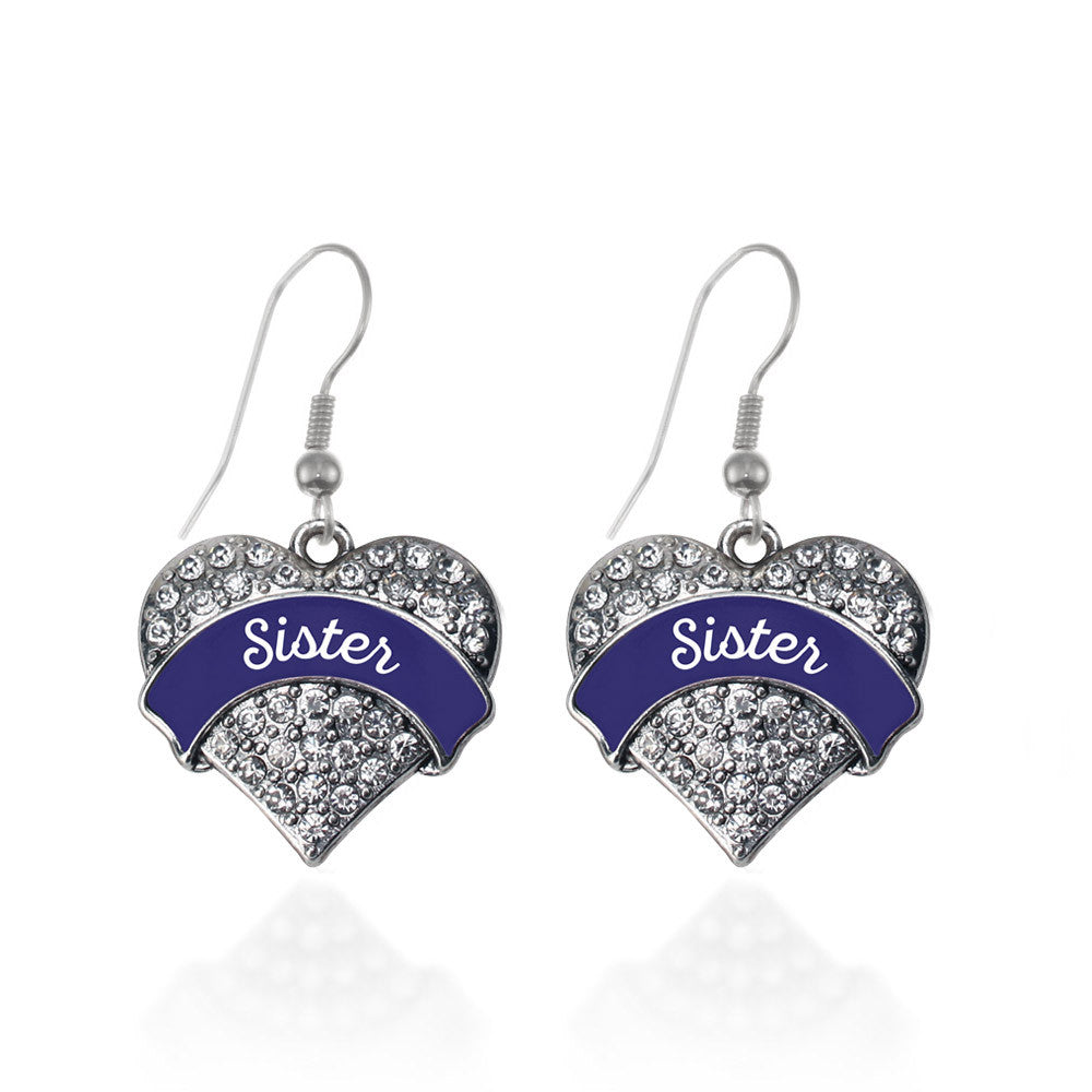 Navy Blue Sister Pave Heart Charm
