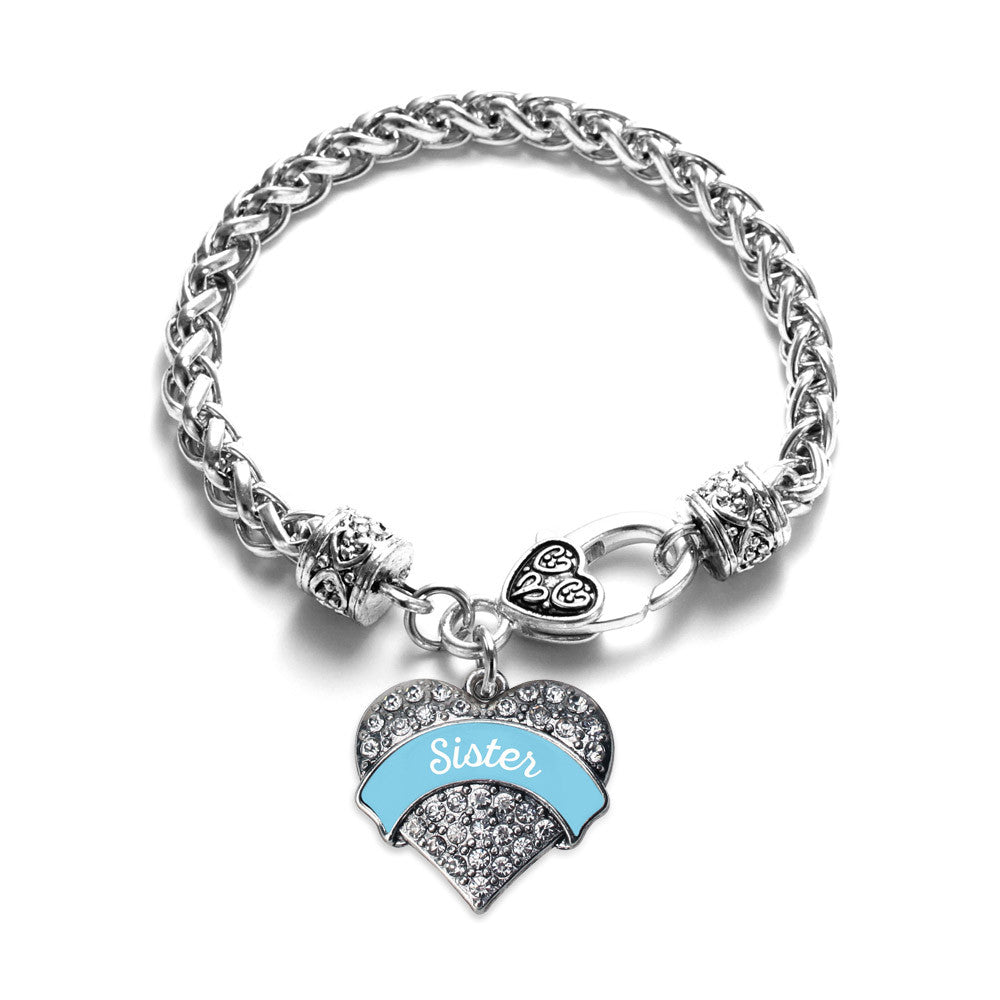 Light Blue Sister Pave Heart Charm