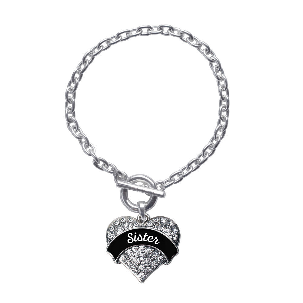 Black and White Sister Pave Heart Charm