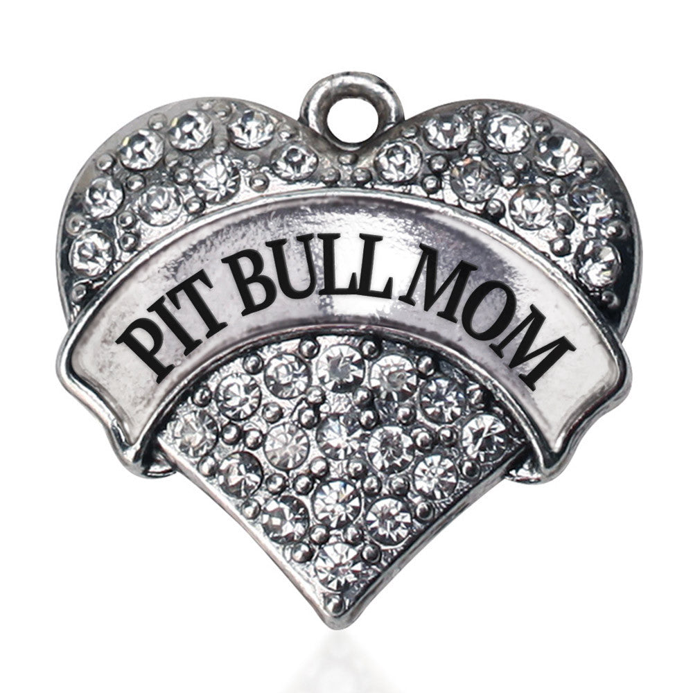 Pit Bull Mom Pave Heart Charm