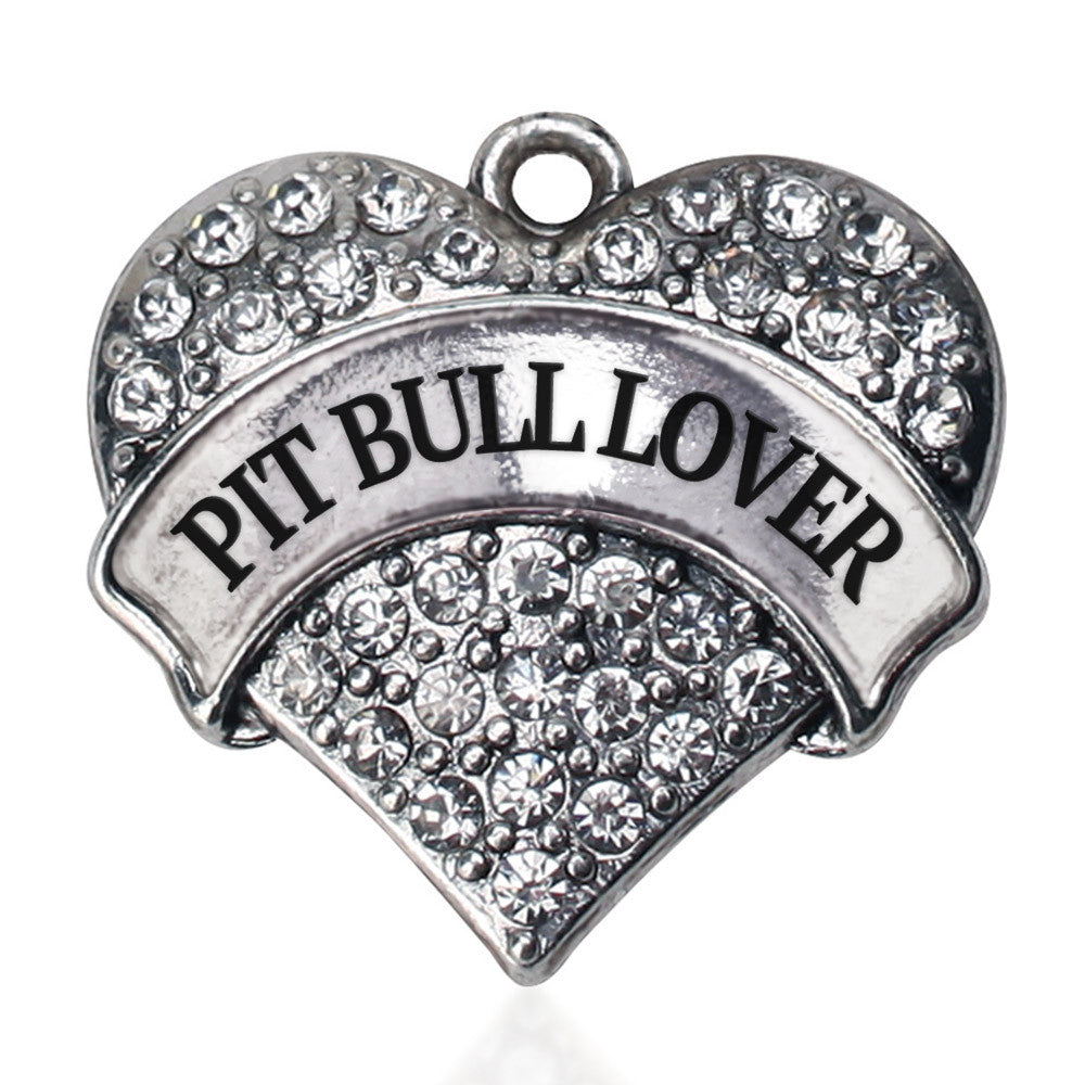 Pit Bull Lover Pave Heart Charm