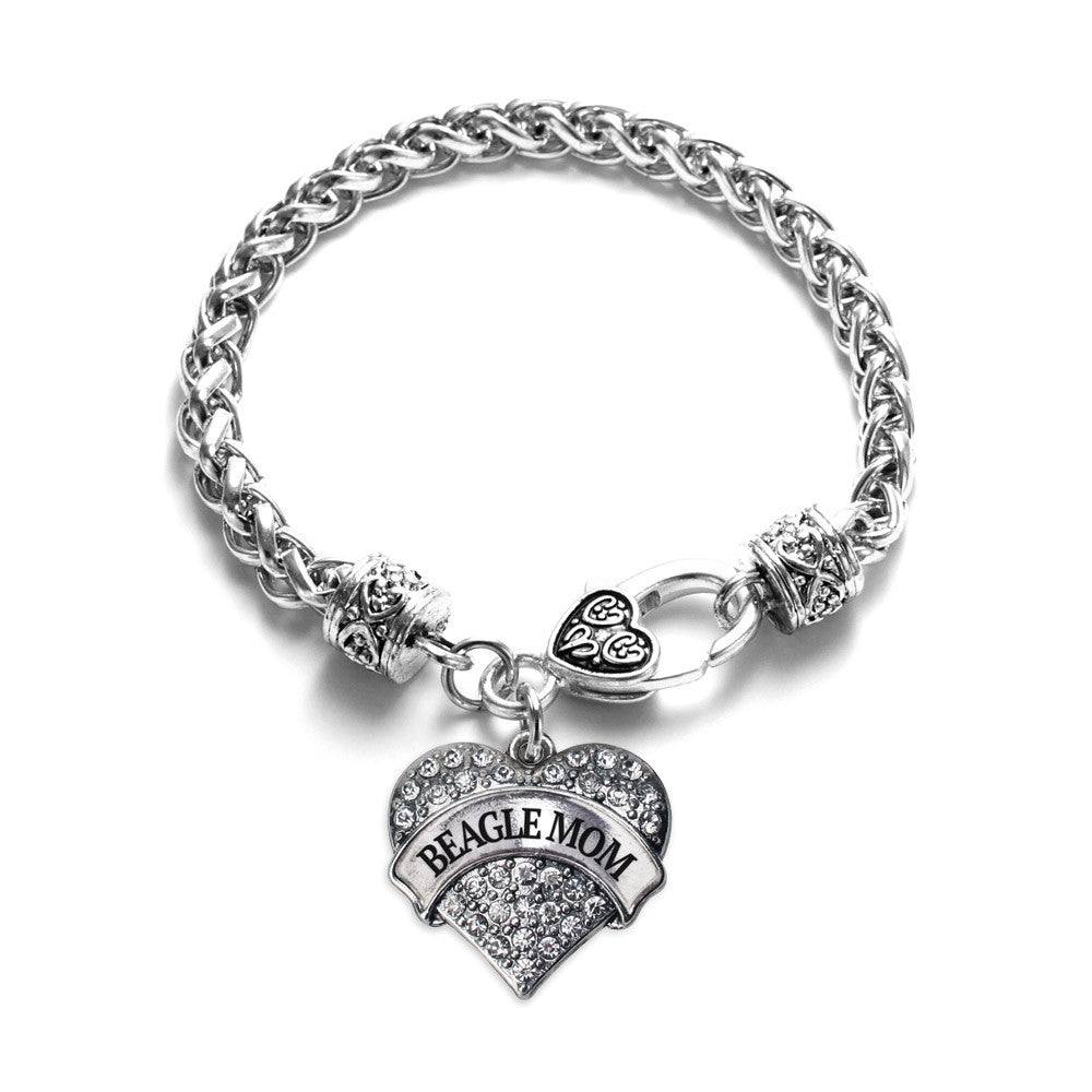 Beagle Mom Pave Heart Charm