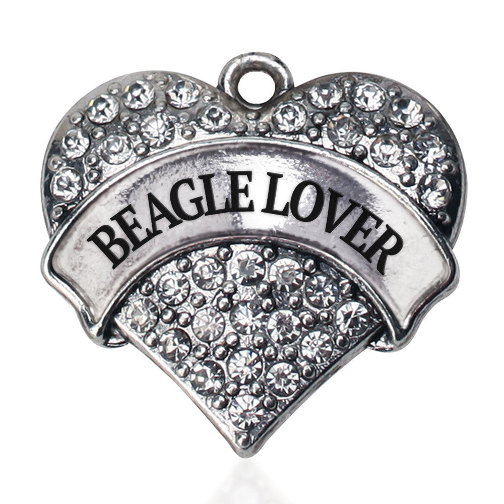 Beagle Lover Pave Heart Charm