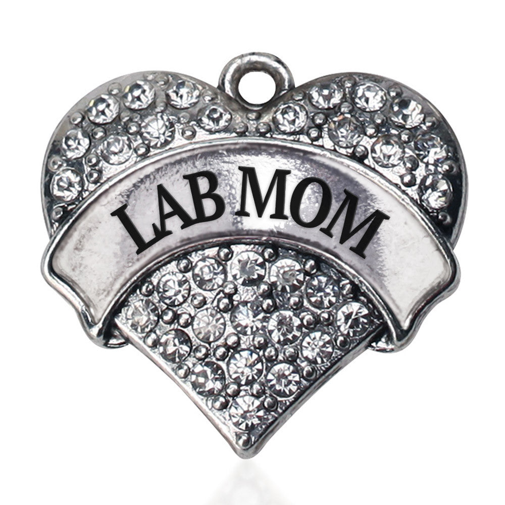 Lab Mom Pave Heart Charm