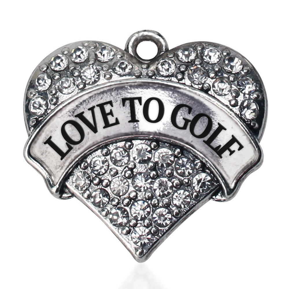 Love to Golf Pave Heart Charm