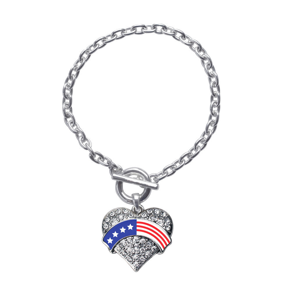 American Flag Pave Heart Charm