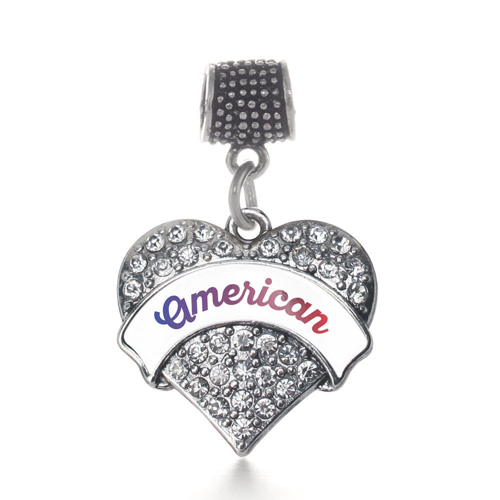 American Pave Heart Charm