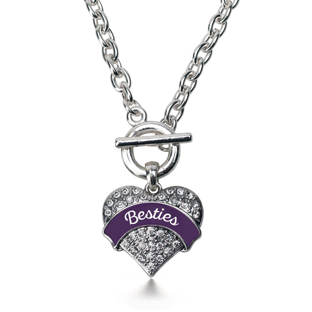 Plum Besties Pave Heart Charm