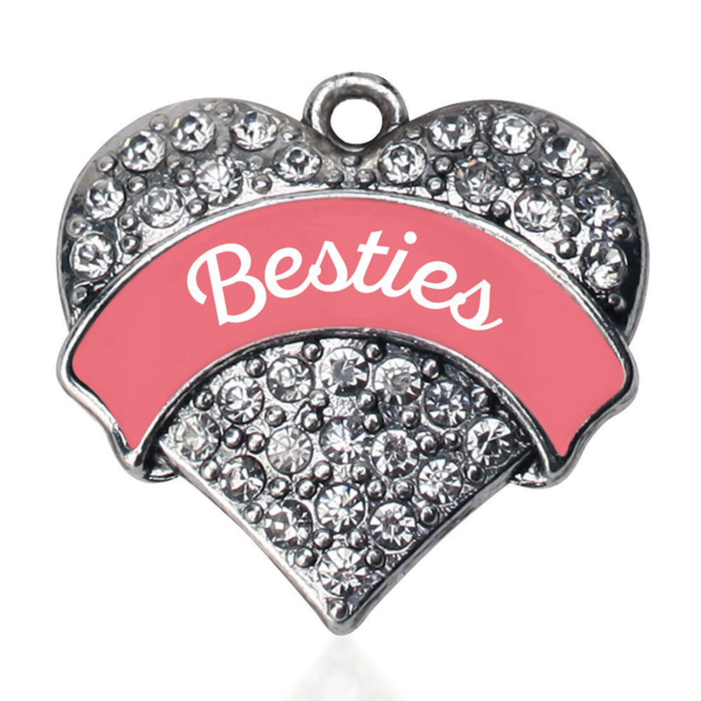 Coral Besties Pave Heart Charm