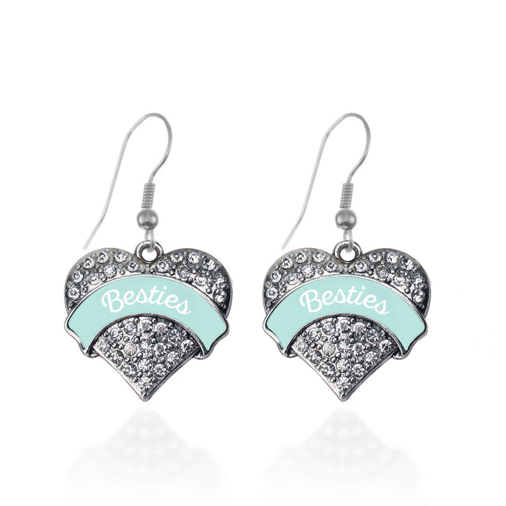 Mint Besties Pave Heart Charm
