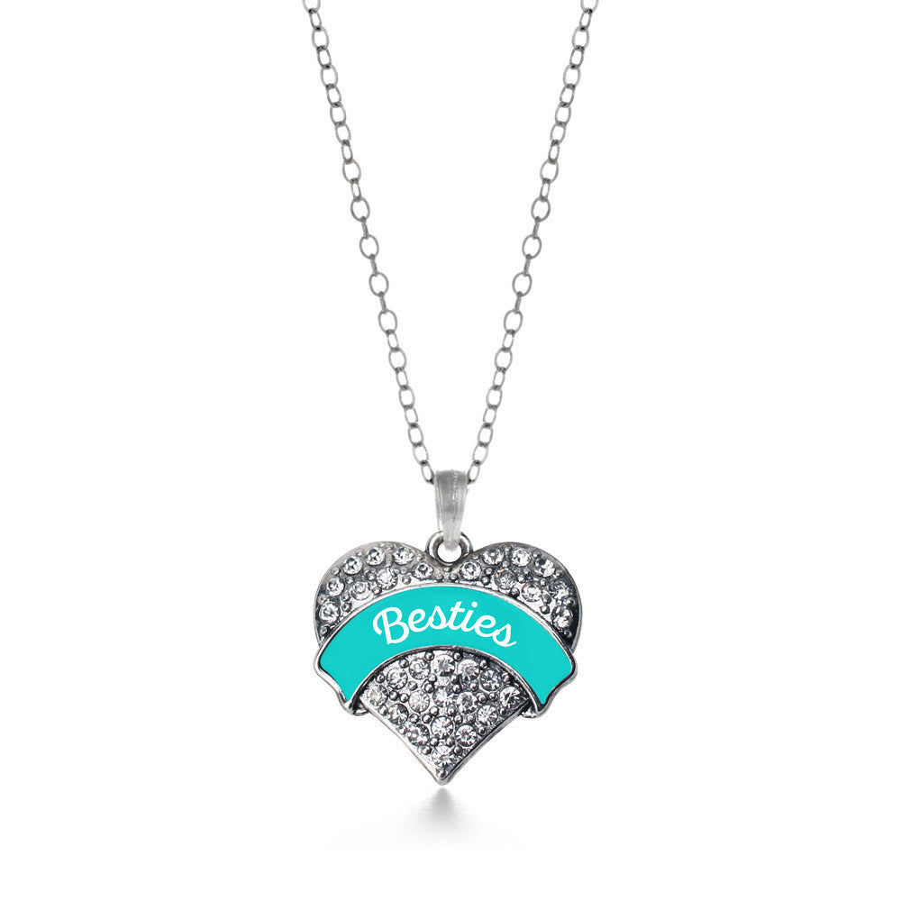 Teal Besties Pave Heart Charm